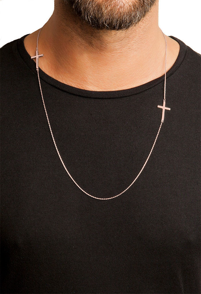 Design Black Stone Cross Double Pendant Guardian Scapular Rose Gold Plated Necklace Jewelry Present From Barcelona Protecting Talisman Escapulario Gay For Man Unisex 2