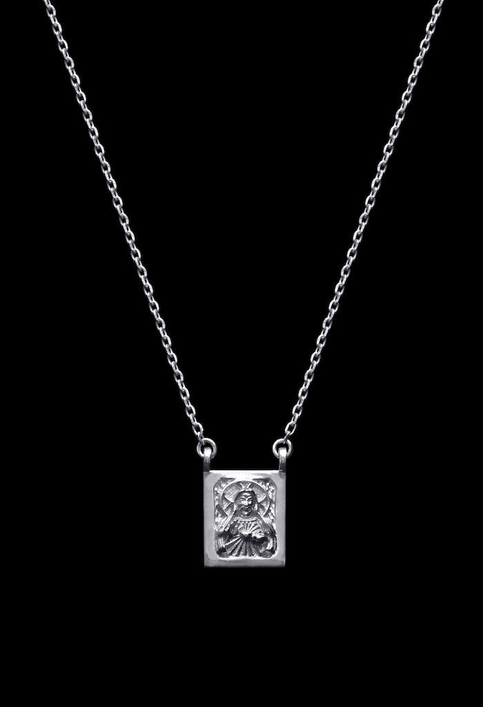 Design Jesus Mother Mary Double Pendant Guardian Scapular Silver Necklace 925 Sterling Religious Jewelry Present From Barcelona Protecting Talisman Escapulario Gay For Man Unisex 2