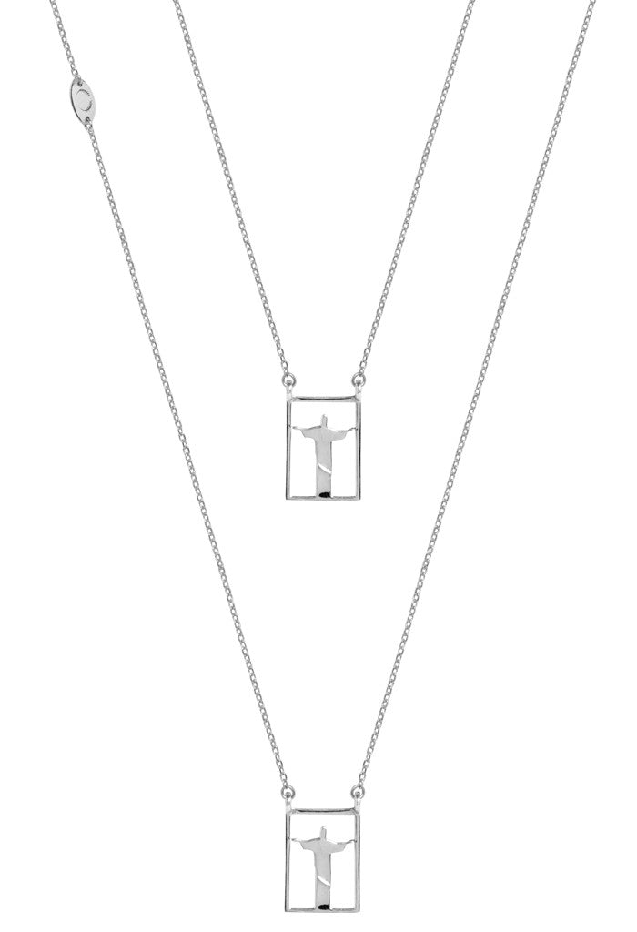 Design Rio Christo Double Pendant Guardian Scapular Silver Necklace 925 Sterling Jewelry Redendor Present From Barcelona Protecting Talisman Escapulario Gay For Man Unisex 2