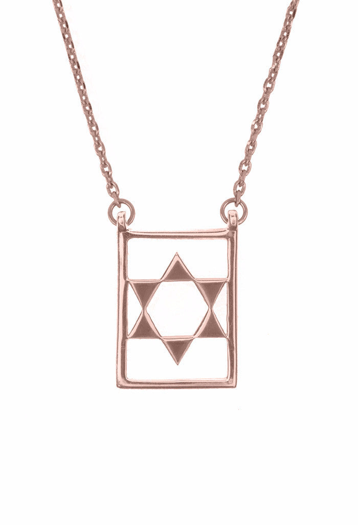 Design Star Of David Double Pendant Guardian Scapular Rose Gold Plated Necklace Jewelry Present From Barcelona Protecting Talisman Escapulario Gay For Man Unisex 2