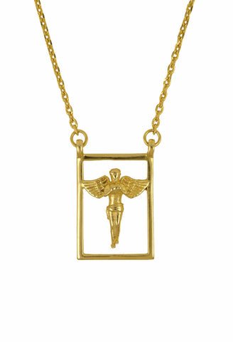 Design Guardian Angel Double Pendant Protecting Scapular Gold Plated Necklace Yellow Jewelry Present From Barcelona Talisman Escapulario Gay For Man Unisex 2