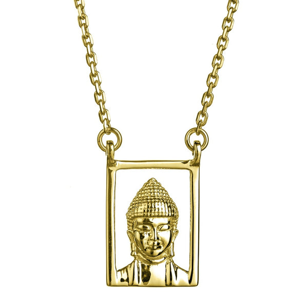 Design Buddha Om Double Pendant Guardian Scapular Gold Plated Necklace Yellow Jewelry Present From Barcelona Protecting Talisman Escapulario Gay For Man Unisex 2