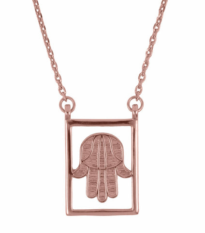 Design Hand Of Fatima Double Pendant Guardian Scapular Rose Gold Plated Necklace Jewelry Present From Barcelona Protecting Talisman Escapulario Gay For Man Unisex 2 Hamsa