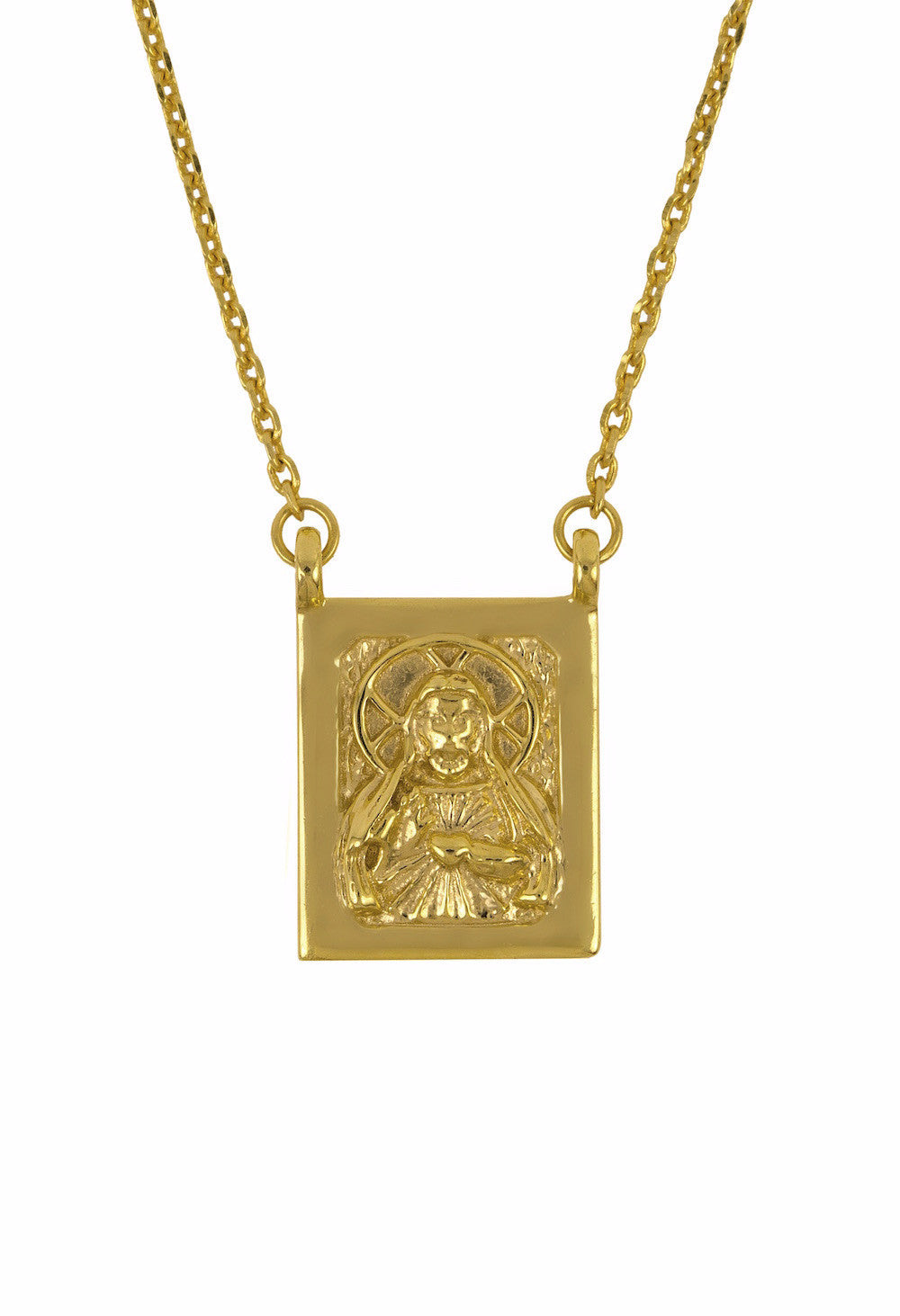 Design Jesus Mother Mary Double Pendant Guardian Scapular Gold Plated Necklace Yellow Religious Jewelry Present From Barcelona Protecting Talisman Escapulario Gay For Man Unisex 2