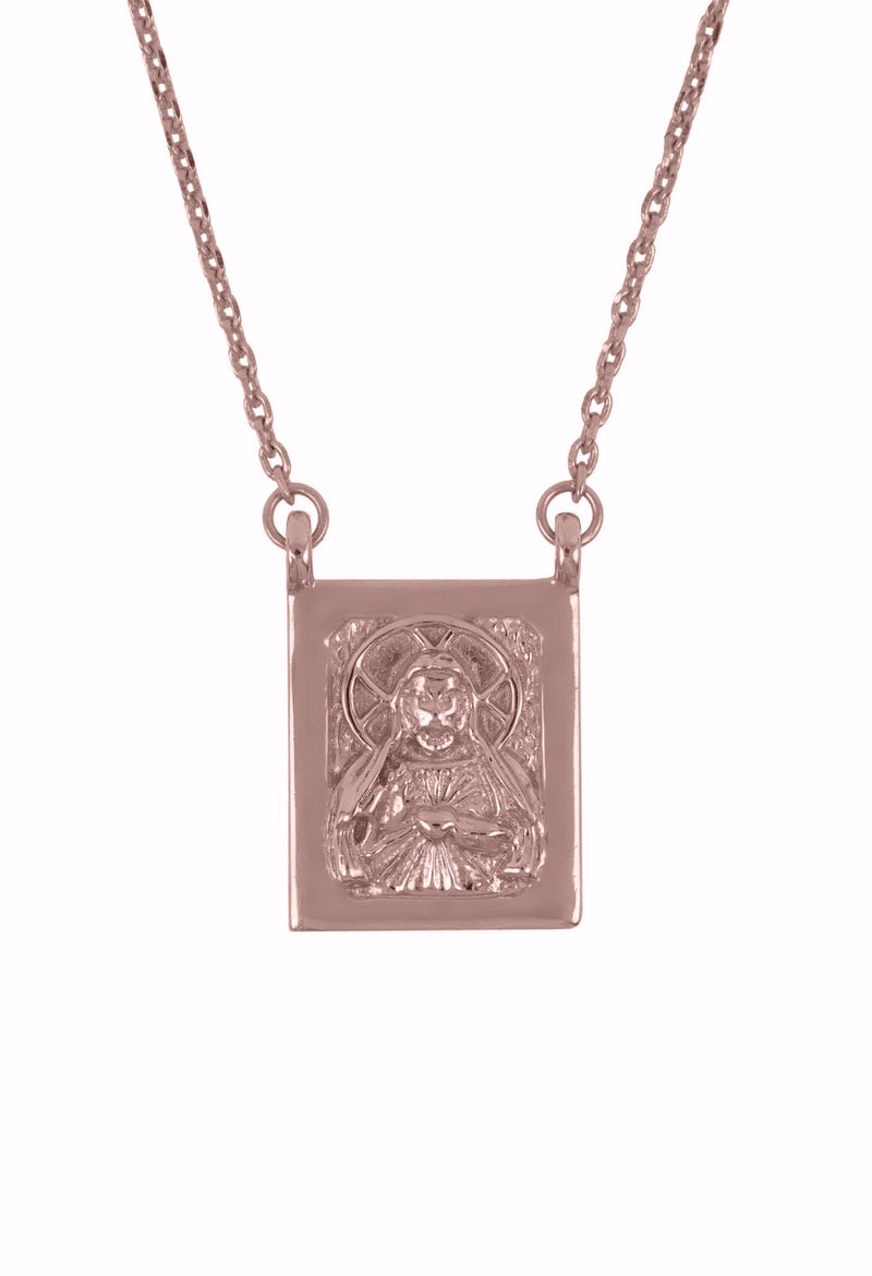 Design Jesus Mother Mary Double Pendant Guardian Scapular Rose Gold Plated Necklace Religious Jewelry Present From Barcelona Protecting Talisman Escapulario Gay For Man Unisex 2