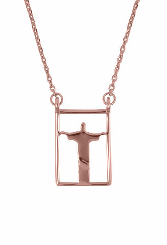Design Rio Christo Double Pendant Guardian Scapular Rose Gold Plated Necklace Jewelry Redendor Present From Barcelona Protecting Talisman Escapulario Gay For Man Unisex 2