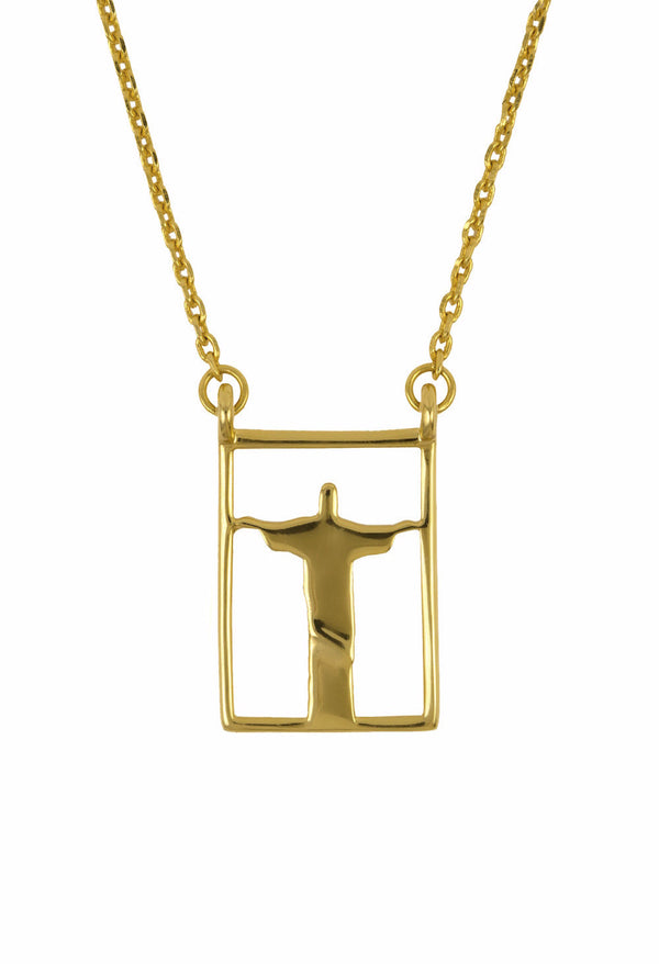 Design Rio Christo Double Pendant Guardian Scapular Gold Plated Necklace Yellow Jewelry Redendor Present From Barcelona Protecting Talisman Escapulario Gay For Man Unisex 2