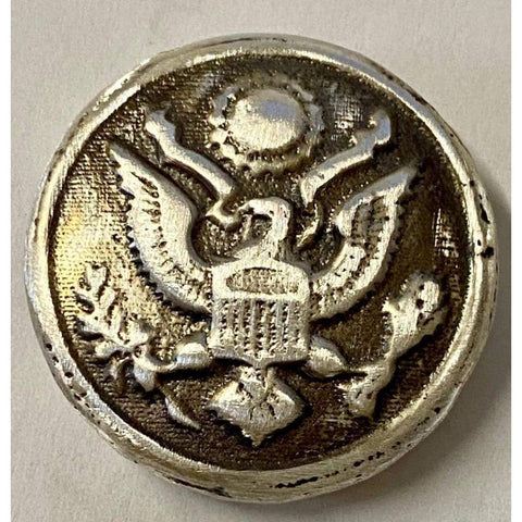 "1.5 Oz  MK BarZ  ""Military Button"" Hand Poured .999 FS Round - MK BARZ AND BULLION"