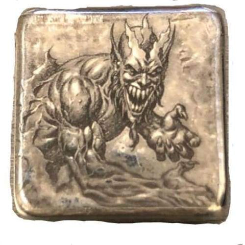 "1 Oz .999 FS MK BarZ  ""Lucifer Lives"" Laser Square by Paul Abrams"" - MK BARZ AND BULLION"