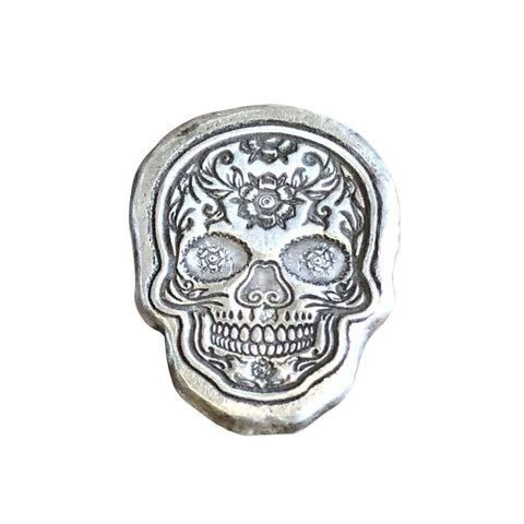 1 Ozt MK BarZ Golden Flower Sugar Skull .999 FS - silver bullion