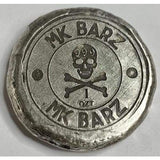 "1 Ozt MK BarZ  ""JR Treasure"" Round Reverse Stamped  Hand Poured .999 FS - MK BARZ AND BULLION"