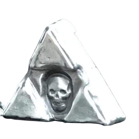 "1 Ozt MK BarZ ""TRI SUNKEN SKULL TRIANGLE"" Skull Stamped  .999 FS - MK BARZ AND BULLION"