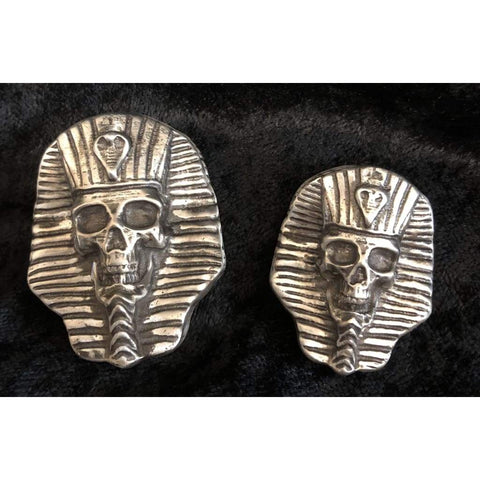 "2.5 ozt. MK BarZ  ""SKULL PHARAOH"" Sand Cast .999 FINE SILVER - MK BARZ AND BULLION"