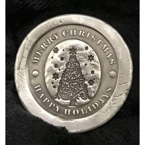 "2 Troy Oz .999 Fine Silver ""Merry Christmas"" Stamped Round Coin - MK BARZ AND BULLION"