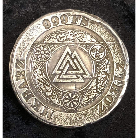 "2 Troy Oz MK BarZ ""Valhalla's Triangle"" Stamped Round .999 FS - MK BARZ AND BULLION"