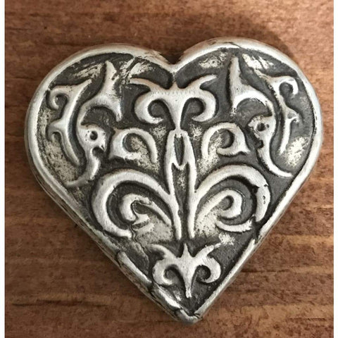 2 Troy Oz MK BarZ Victorian Heart Heart Shaped Hand Poured Bar .999FS - silver bullion