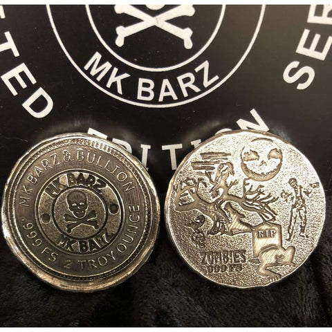 "2 Troy Oz MK BarZ ""Zombies Graveyard"" Logo Double Stamped Round .999 FS - MK BARZ AND BULLION"