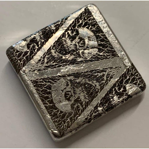 "3 Oz .999 FS MK BarZ  ""Devils Triangle"" Laser Square by Paul Abrams"" - MK BARZ AND BULLION"