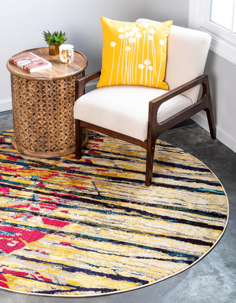 9966 Yellow Abstract Contemporary Area Rugs