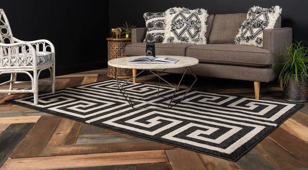 9965 Black Athens Contemporary Area Rugs