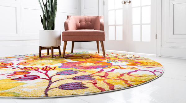 9709 Ivory Floral Contemporary Round Area Rugs