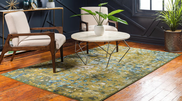 9959 Green Contemporary Area Rugs