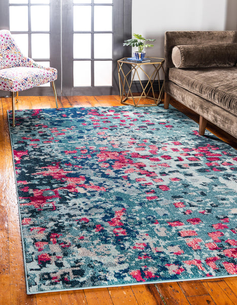 9959 Blue Contemporary Area Rugs