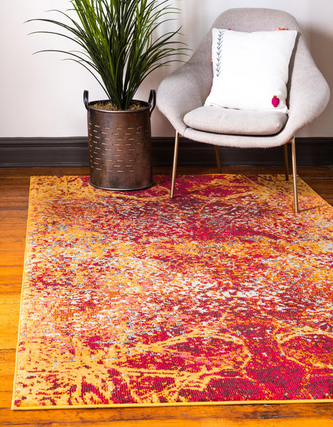 9975 Yellow Abstract Contemporary Area Rugs