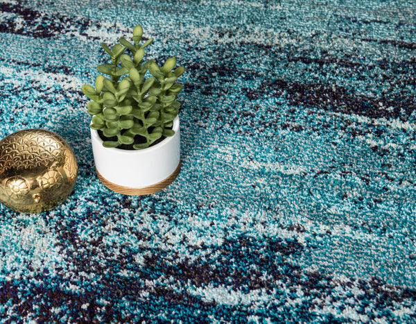 9960 Blue Contemporary Area Rugs