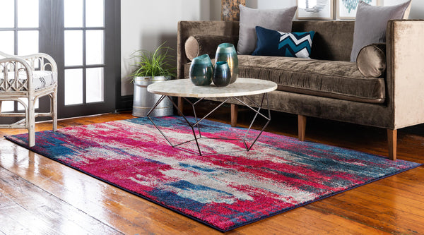 9960 Red Blue Contemporary Area Rugs