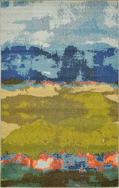 9992 Blue Green Abstract Contemporary Area Rugs