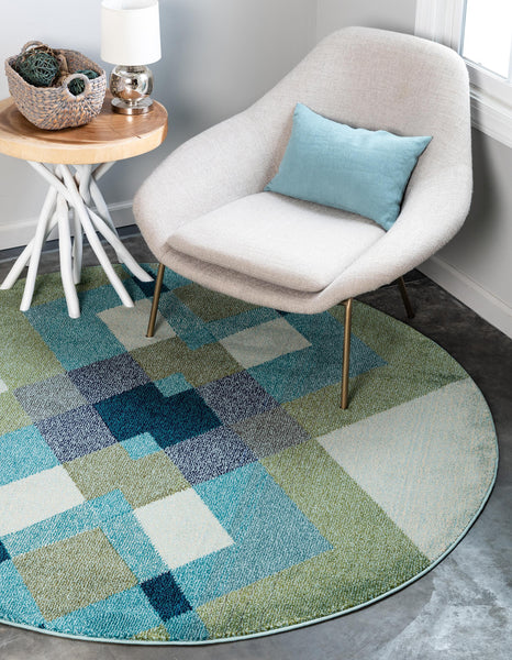 9976 Green Abstract Contemporary Area Rugs