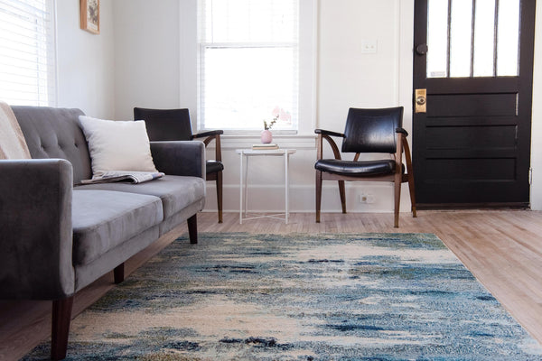 9954 Blue Contemporary Area Rugs