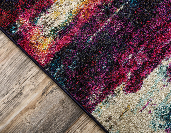 9956 Multi Color Distressed Contemporary Area Rugs