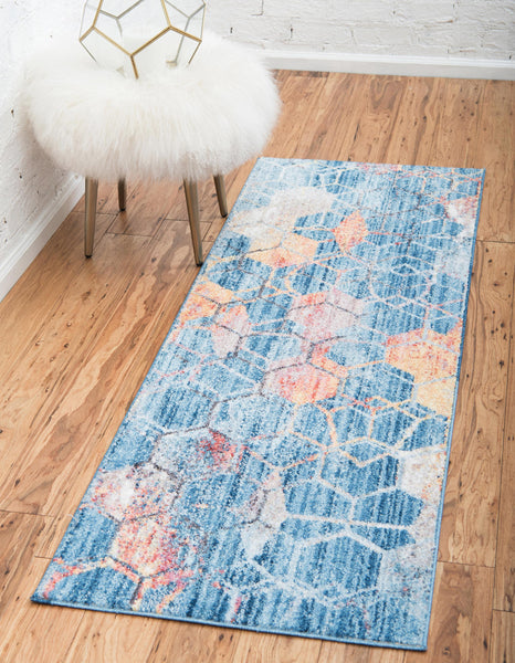 9962 Blue Distressed Abstract Contemporary Area Rugs