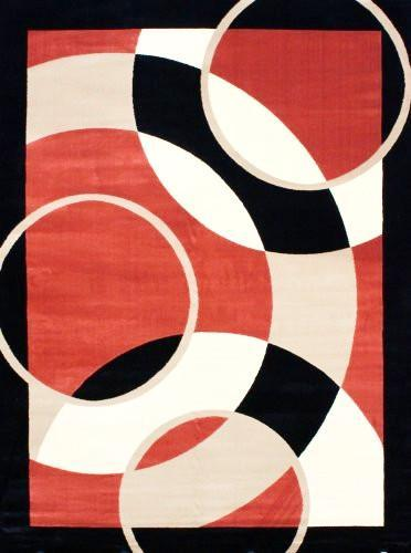 Modern Trendz Orange Black Geometric Contemporary Rugs