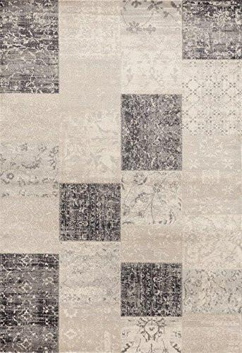 Gray Beige Patches Transitional Area Rugs