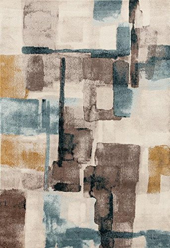 Ivory Multi Color Distressed Contemporary Area Rugs 5x8 8x11