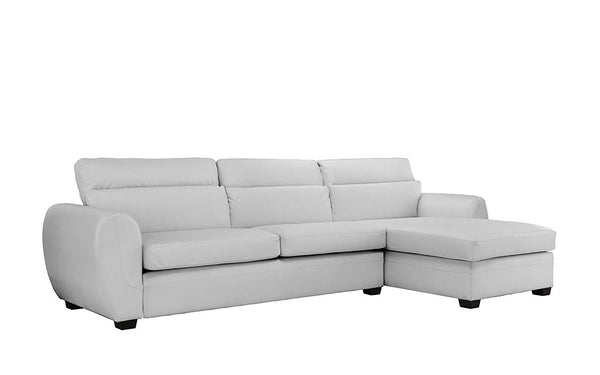 New Century® White Faux Bonded Leather Sectional Sofa