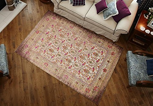 2202 Ivory Pink Distressed Vintage Persian Area Rugs