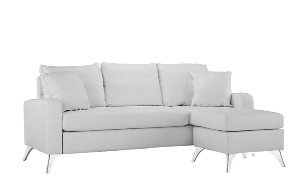 New Century® White Bonded Faux Leather Sectional Sofa