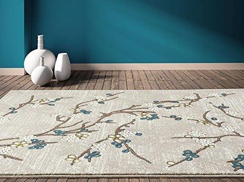 5650 Beige Branches Transitional Area Rugs