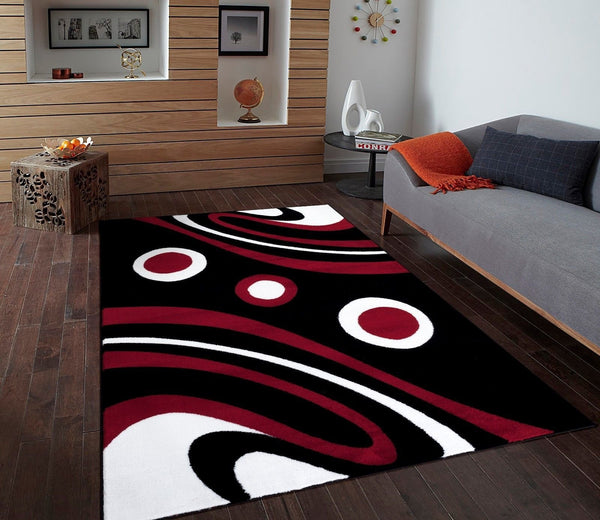 Black Red Contemporary Area Rugs
