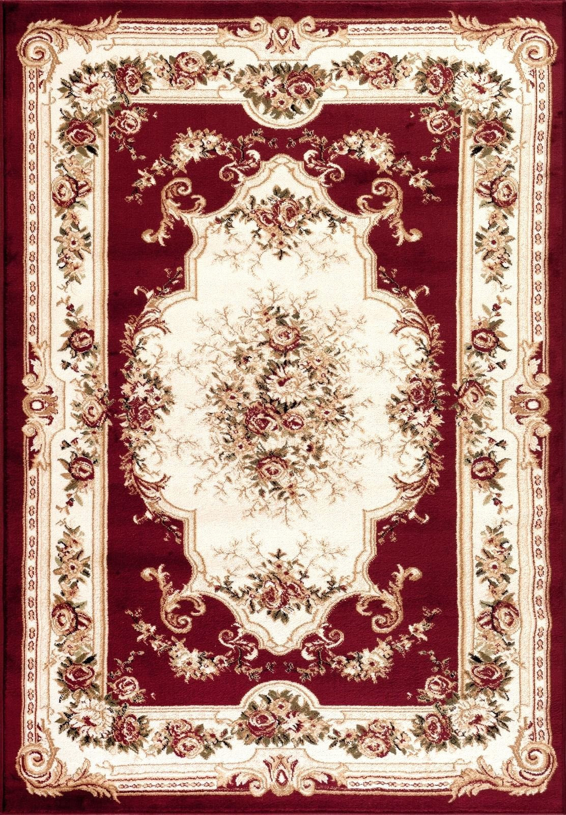 Red Victorian French Floral Traditional Rugs | Bargain Area Rugs ...