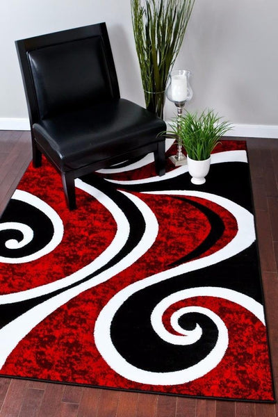 Modern Trendz Red Black Swirls Contemporary Rugs
