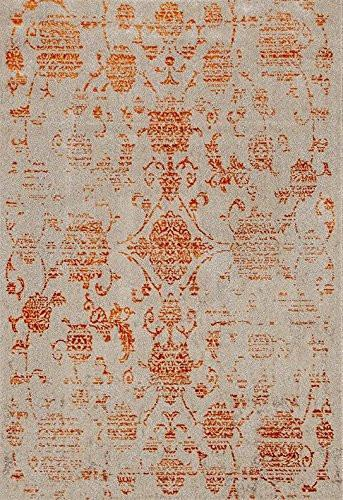 Ivory Damask Vintage Distressed Area Rugs