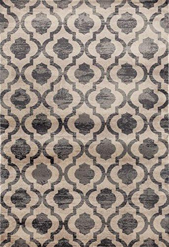 0672 Gray Distressed Moroccan Trellis Area Rugs