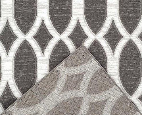 Gray Moroccan Trellis Contemporary Panels Area Rugs