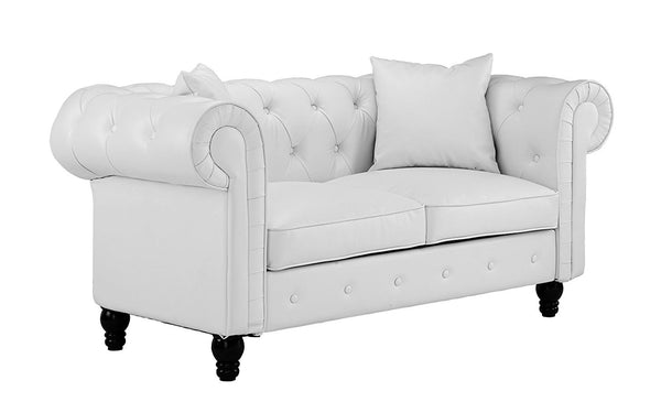 New Century® White Victorian Bonded Faux Leather Love Seat Sofa