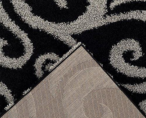 Black Gray Floral Shag Area Rugs